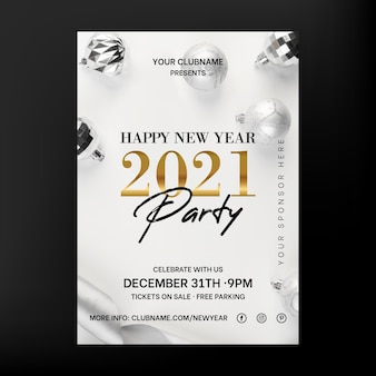 Elegant new year 2021 party flyer
