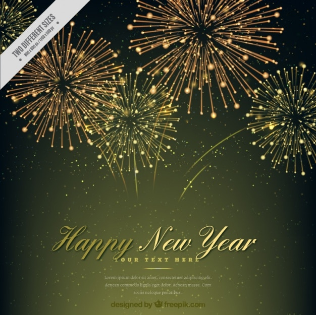 Elegant new year background with golden fireworks