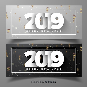 Elegant new year party banners with realistic design