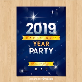 Elegant new year party poster with realistic design