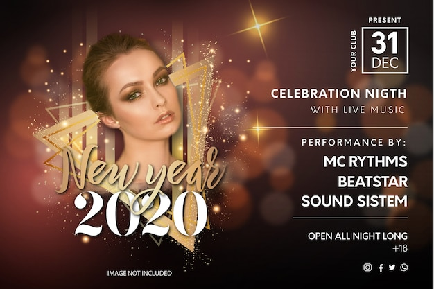 Elegant new year's eve party flyer template