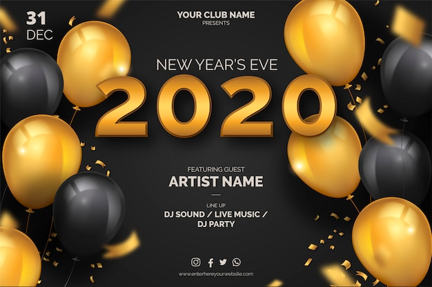 Elegant new year's eve poster template