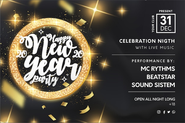 Elegant new year's party flyer template with golden frame