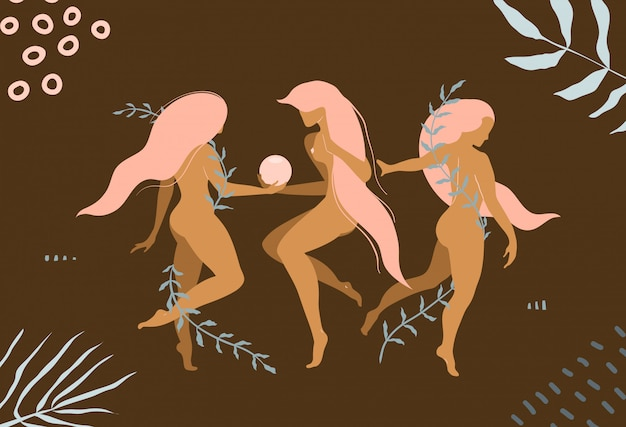 Elegant nude women with long hair fit and slim naked body graphic design for apparel or product.