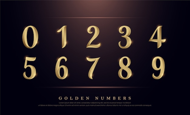 Elegant numbers gold colored metal chrome alphabet font