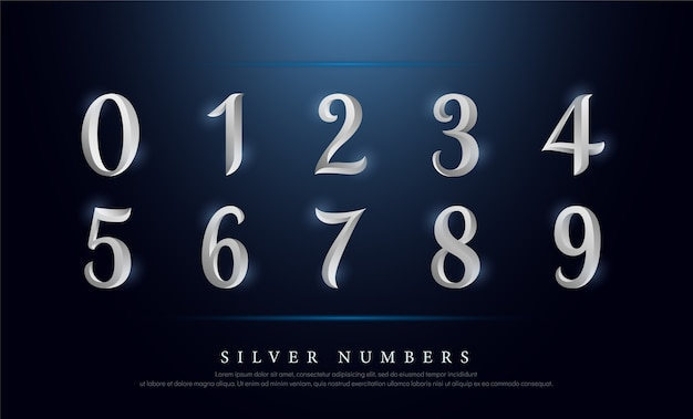 Elegant numbers silver colored metal chrome alphabet font