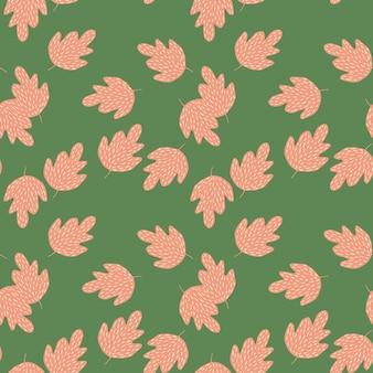 Элегантный дубовый бесшовный узор на зеленом фоне.