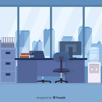 Elegant office interior with flat design
