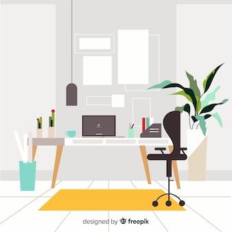 Элегантный офисный интерьер с плоским дизайном