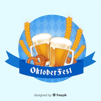 Elegant oktoberfest composition with realistic design