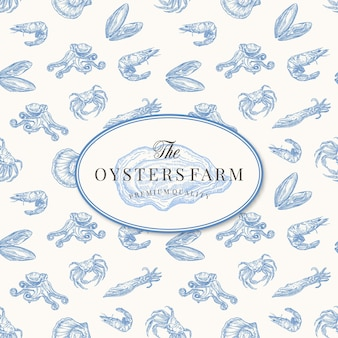 Elegant opened oyster drawing sketch with seafood seamless pattern