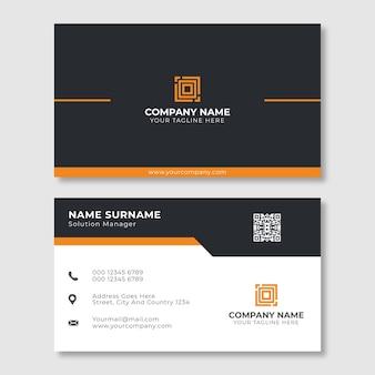 Elegant orange and black business card template