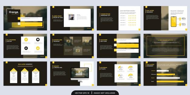 Elegant orange brown multipurpose presentation template set