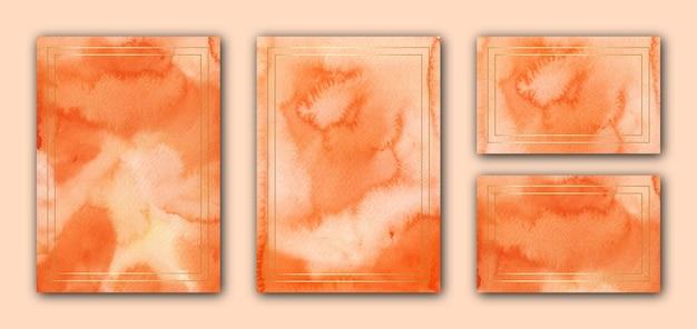 Элегантный оранжевый акварельный шаблон свадебной открытки с золотой рамкой