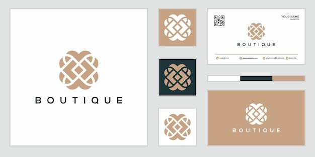 インスピレーションを与えるエレガントなオーナメントデザインのロゴ。ロゴデザインと名刺