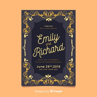 Elegant ornamental retro wedding card template