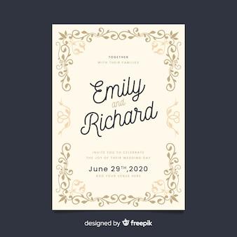 Elegant ornamental retro wedding invitation