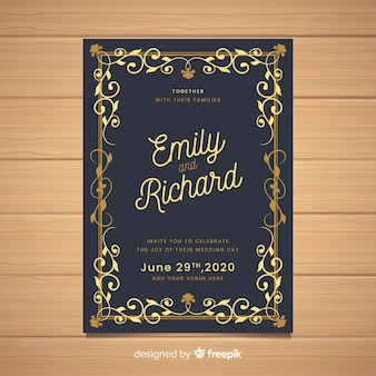 Elegant ornamental vintage wedding card template