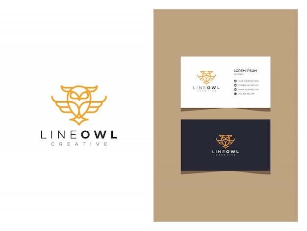 Elegant owl logo with a business card