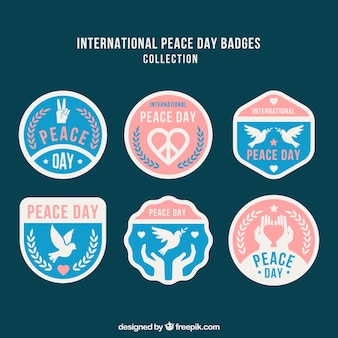 Elegant pack of badges for day of peace