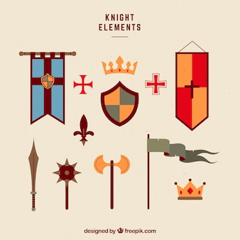 Elegant pack of colorful medieval elements