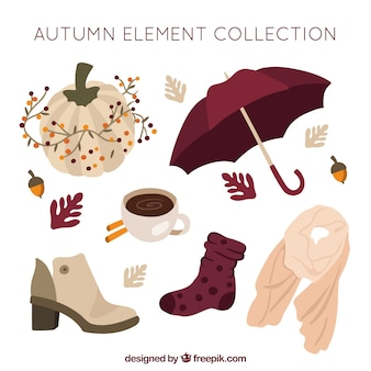 Elegant pack of autumn elements