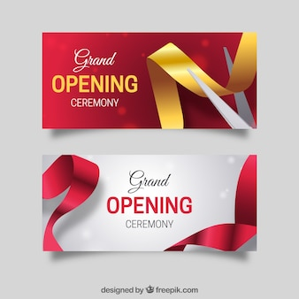 Opening invitation vectors photos and psd files free download elegant pack of realistic opening banners stopboris Gallery