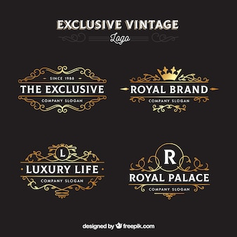 Elegant pack of vintage logo templates