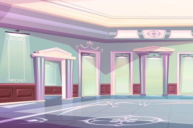 Elegant palace ballroom, museum gallery interior