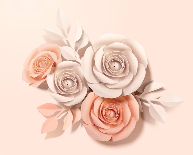 Elegant paper flower in beige and peach pink in 3d style