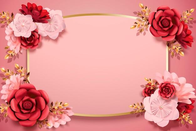 Элегантные бумажные цветы фон в 3d иллюстрации