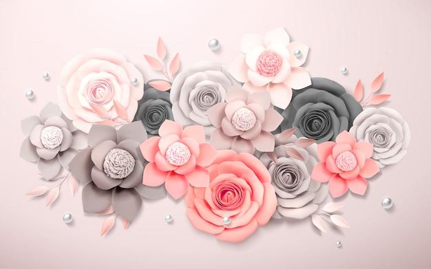 회색과 분홍색, 3d 일러스트에서 우아한 종이 꽃 부티크