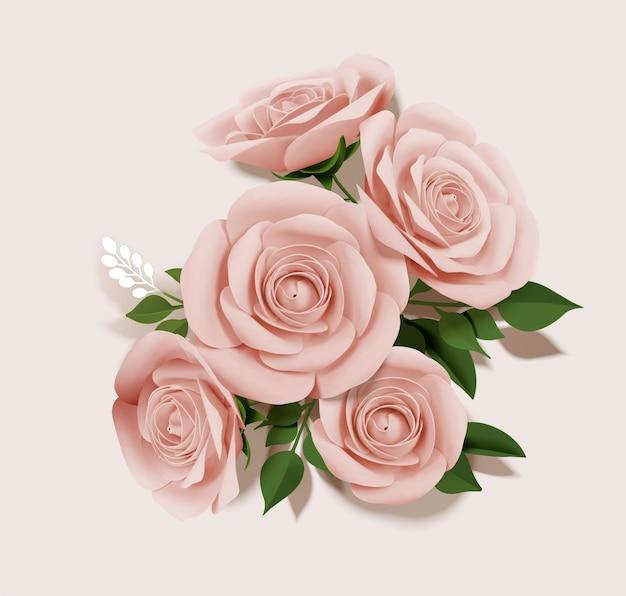 Elegant paper rose bouquet elements in 3d illustration