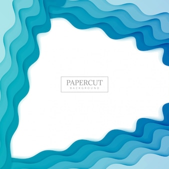 Elegant Papercut blue wave colorful design