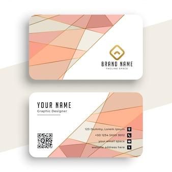 Элегантная пастельная цветная визитная карточка с низким поли