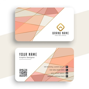 Elegant pastel color low poly business card
