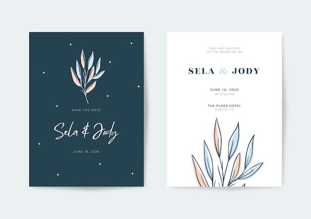 Элегантный пастельный шаблон свадебной открытки