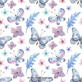Elegant pattern of flowers and watercolor butterflies