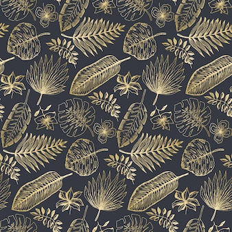 Elegant pattern with golden tropical leaves