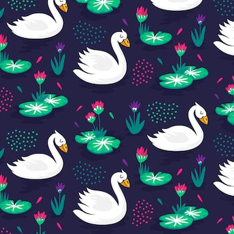 Elegant pattern with swans