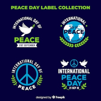 Elegant peace day label collection