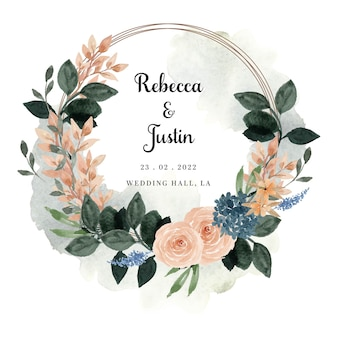 Elegant peach and blue floral wreath with abstract stain