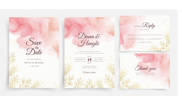Elegant peach watercolor with gold leaves lines on wedding card template
