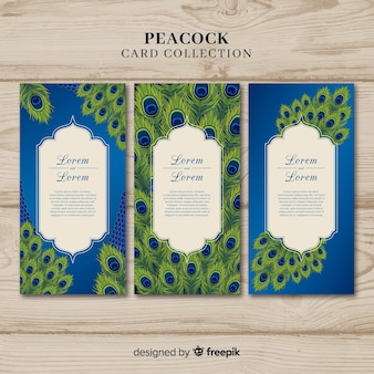 Elegant peacock card collection