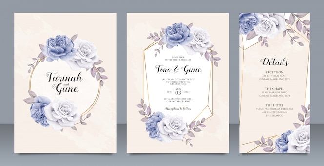 Elegant peonies flowers wedding invitation card set template design
