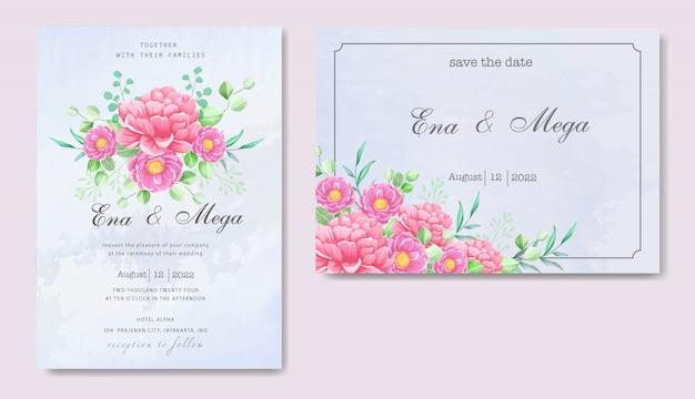 Elegant peonies invitation card set template