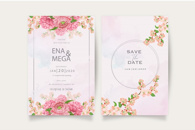 Elegant peonies invitation card template