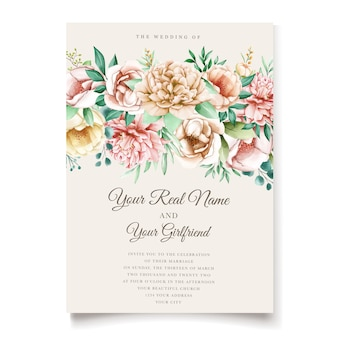 Elegant peonies invitation card template