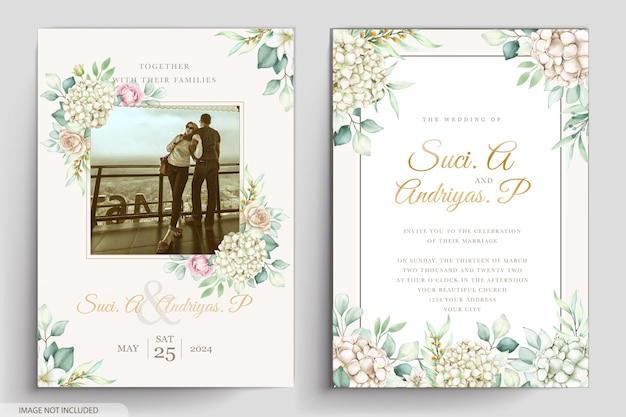 Elegant peonies watercolor invitation card
