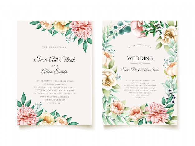 Elegant peonies wedding invitation design template